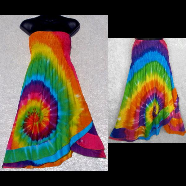 Rainbow Spiral Tie-Dye Convertible Dress/Skirt-Dresses-Peaceful People