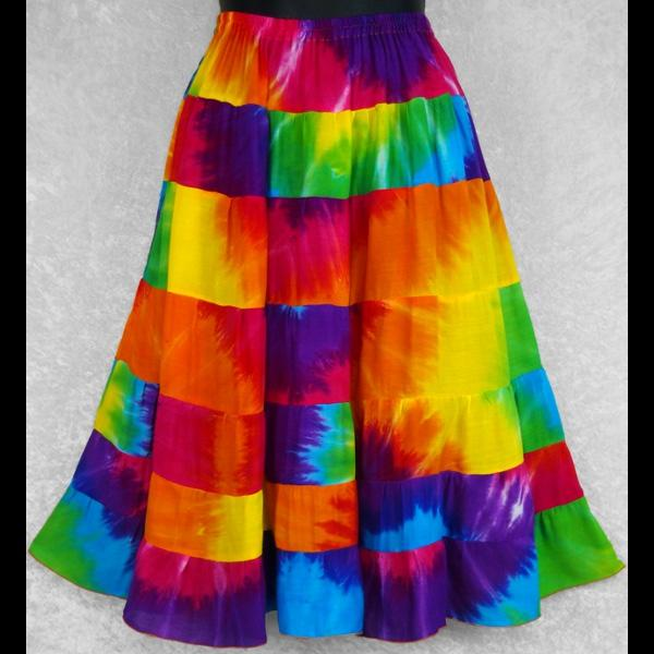 Rainbow Spiral Tie-Dye Tiered Skirt-Skirts-Peaceful People
