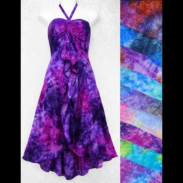 Gigi's Splash Tie-Dye Front Ruffle Sarong Dress-Dresses-Peaceful People
