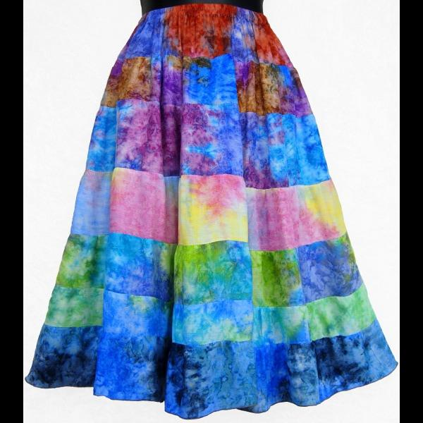 Mixed Color Splash Tiered Skirt-Skirts-Peaceful People