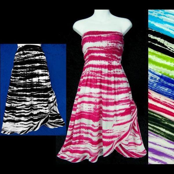 Streaky Tie-Dye Convertible Dress/Skirt-Dresses-Peaceful People