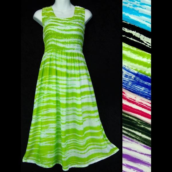 Streaky Tie-Dye Sarong Tank Dress-Dresses-Peaceful People