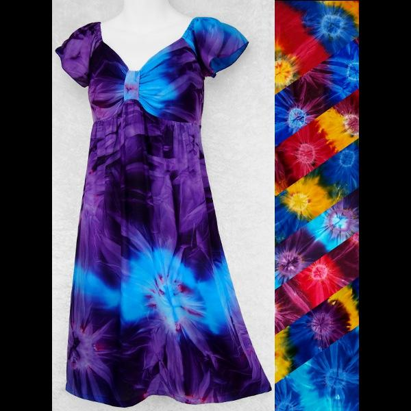 Tie-Dye Cap-Sleeve Dress-Dresses-Peaceful People
