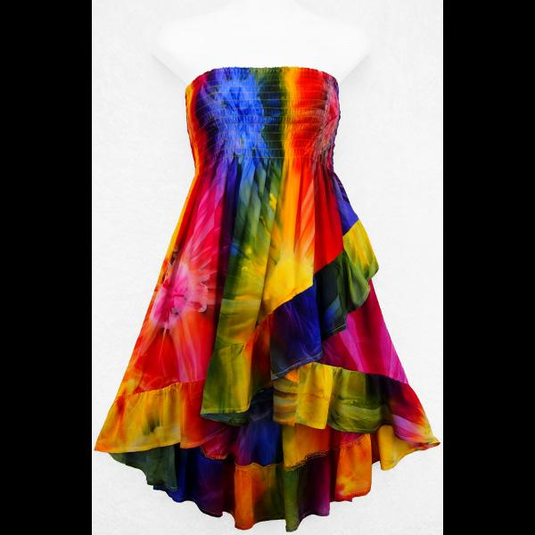 Tie-Dye Ruffled Convertible Top/Skirt-Tops-Peaceful People