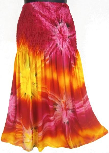 Tie-Dye Tube-Top Convertible Dress/Skirt-Dresses-Peaceful People