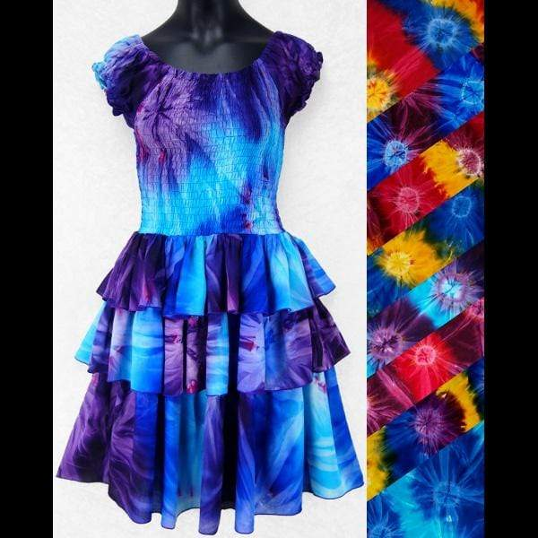 Sandi's Tie-Dye Ruffle Dress for Girls (Ages: 4, 6, 8)-Tie-Dye Clothing-Peaceful People