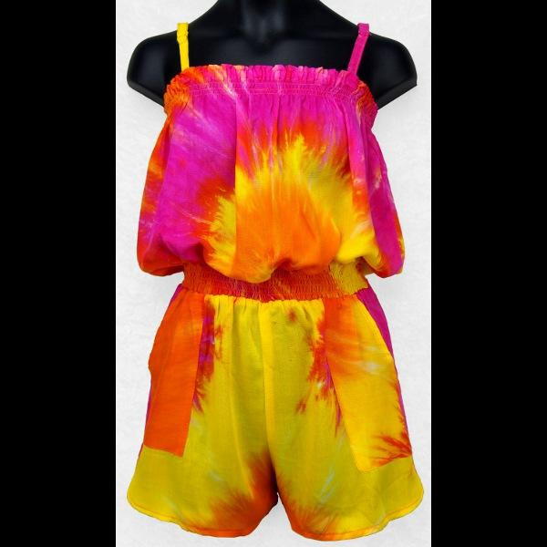 Joy's Tie-Dye Romper (Ages: 4, 6, 8)-Children's Clothes-Peaceful People