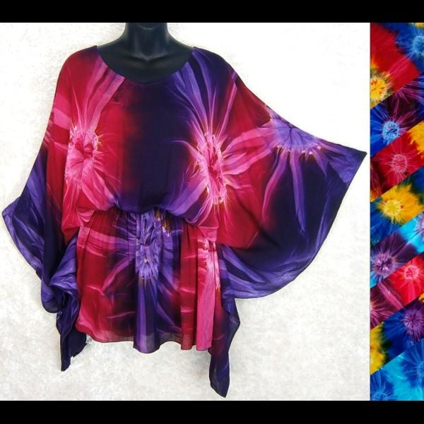 Tie-Dye Butterfly Poncho Top-Tops-Peaceful People