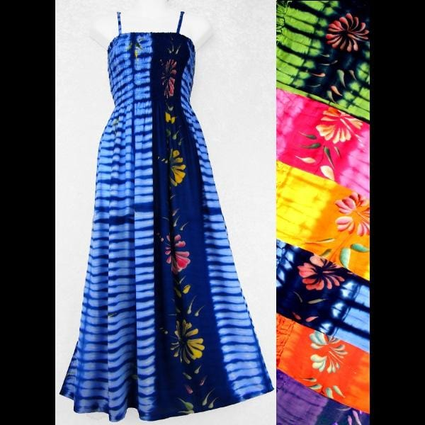 Flower Tie-Dye Sarong Dress-Dresses-Peaceful People