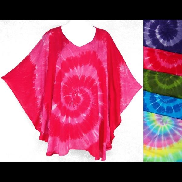 Spiral Tie-Dye Poncho Top-Tops-Peaceful People