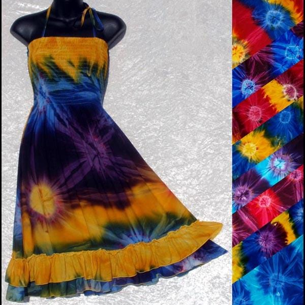 Tie-Dye Salsa Sarong Dress-Dresses-Peaceful People