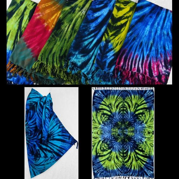 Polychromatic Tie-Dye Sarongs-Sarongs-Peaceful People