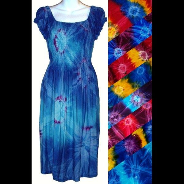 Tie-Dye Short Sleeve Sarong Dress-Dresses-Peaceful People