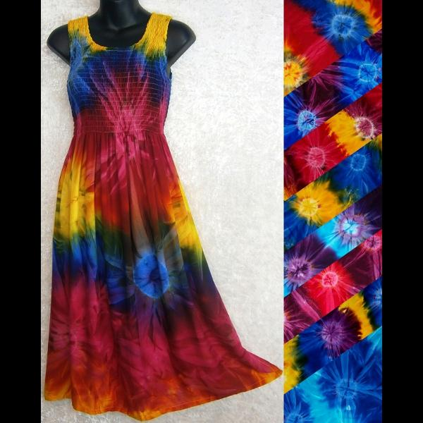Tie-Dye Sarong Tank Dress-Dresses-Peaceful People