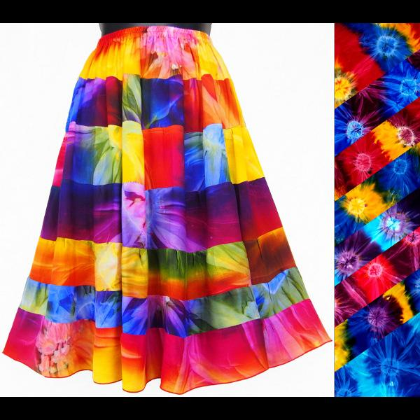 Tie-Dye Tiered Skirt-Skirts-Peaceful People