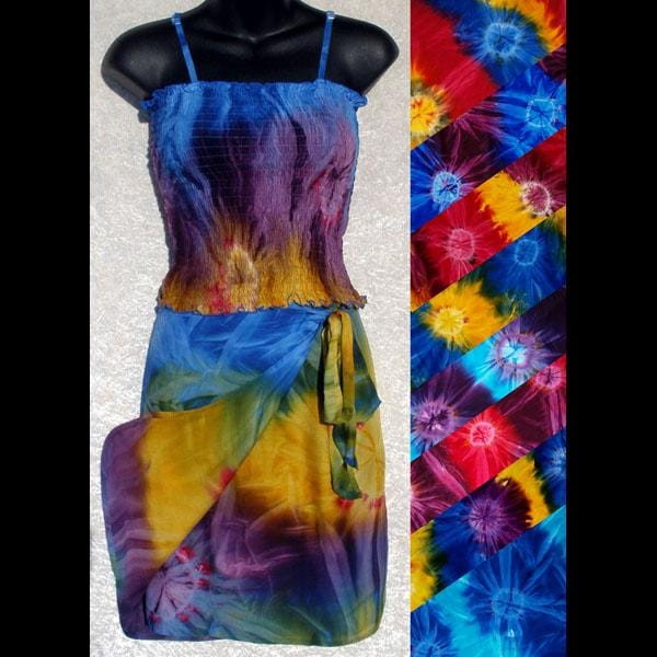 Tie-Dye Top & Wrap Skirt Matched Set-Sarong Sun Dresses-Peaceful People