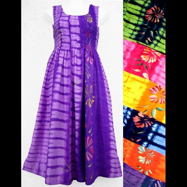 Flower Tie-Dye Sarong Tank Dress-Dresses-Peaceful People