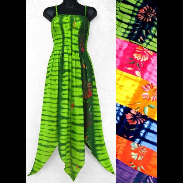 Flower Tie-Dye Fairy Sarong Dress-Dresses-Peaceful People