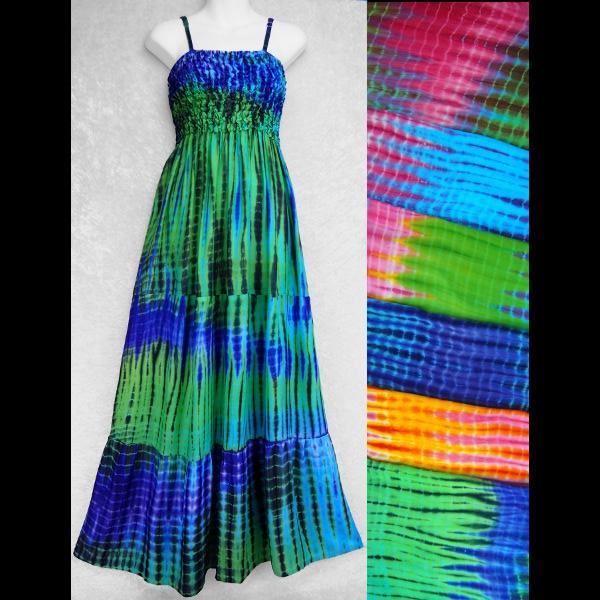 Trippy Tie-Dye Frill Long Dress B-Dresses-Peaceful People