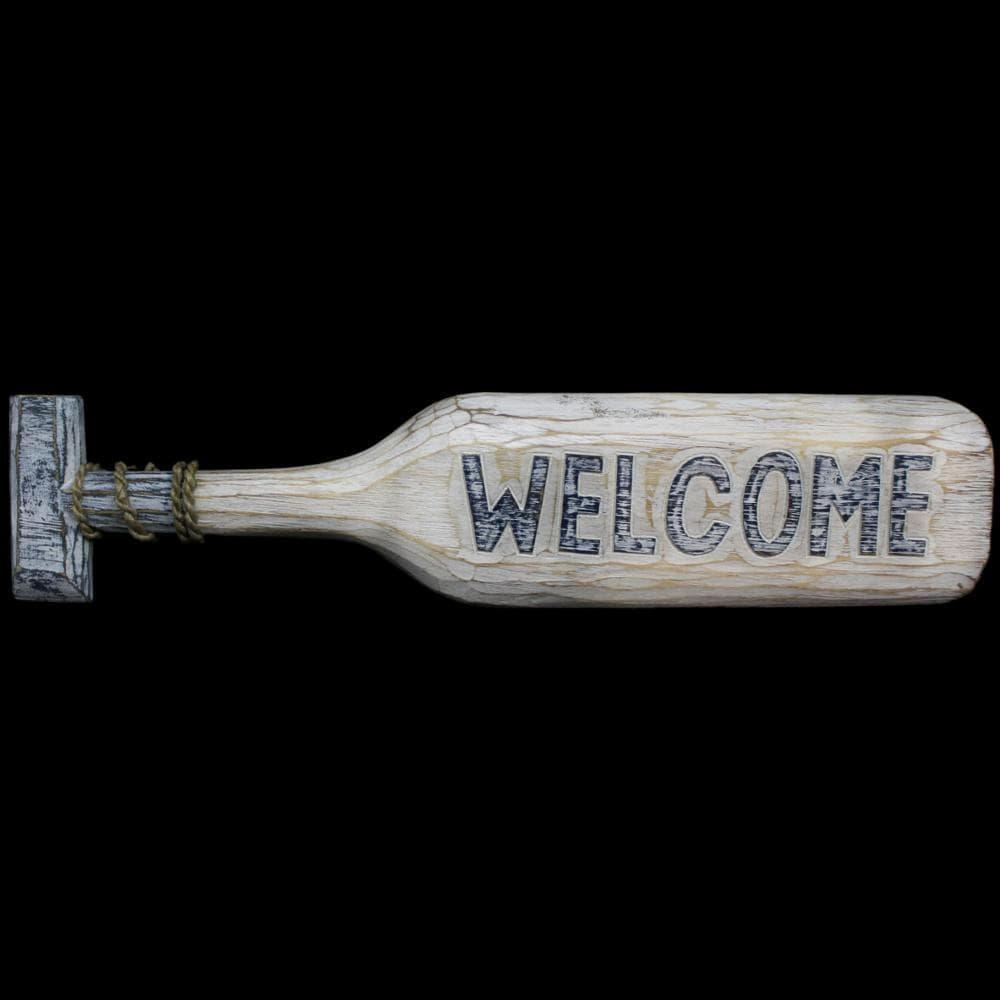 Welcome Paddle Carved Sign-Handicrafts-Peaceful People