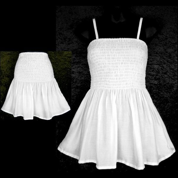 White Baby Doll Convertible Top/Skirt-Tops-Peaceful People