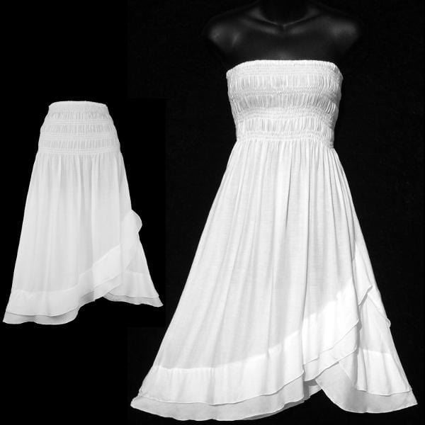 White Convertible Dress/Skirt-Dresses-Peaceful People