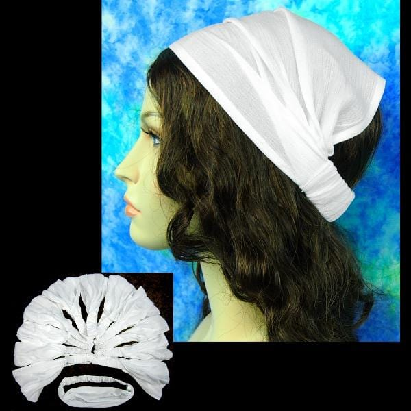 12 White Crinkle Elastic Bandana-Headbands ($1.50 each)-Crinkle Clothing-Peaceful People