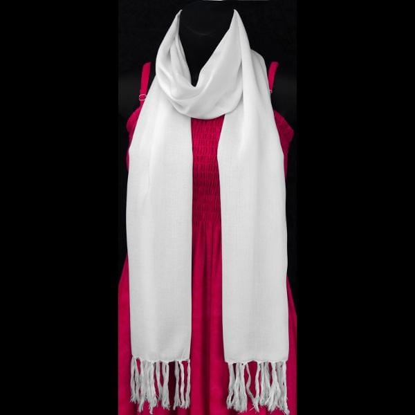 White Narrow Scarf-Tie-Dye Blanks/White Clothing-Peaceful People