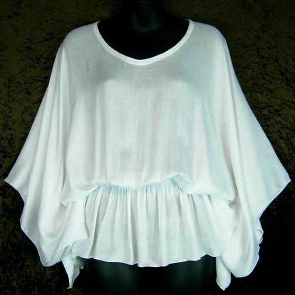 White Butterfly Poncho Top-Tops-Peaceful People