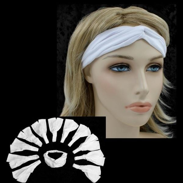 12 White Twisted Turban Elastic Headbands ($1.50 each)-Tie-Dye Blanks/White Clothing-Peaceful People