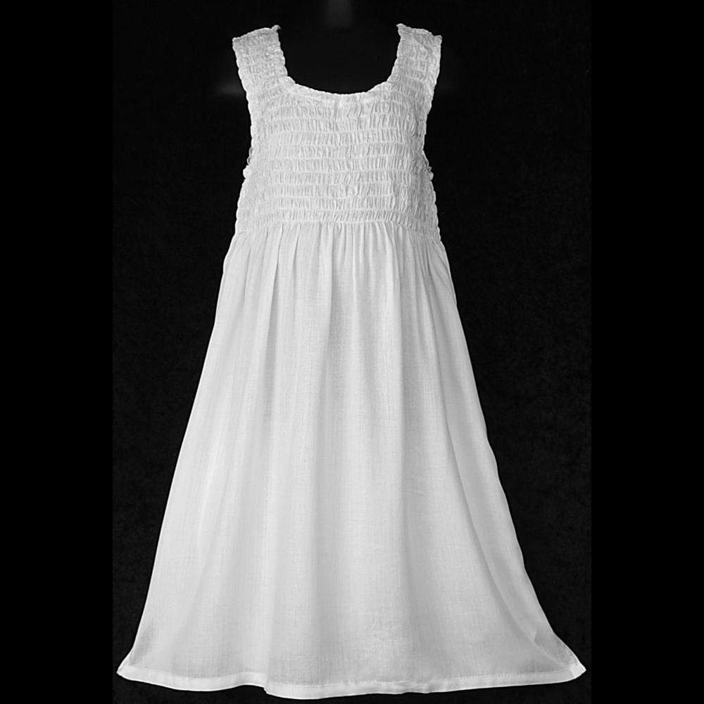 Girl's White Tank Dress (Ages: 4, 6, 8, 10, 12)-Dresses-Peaceful People