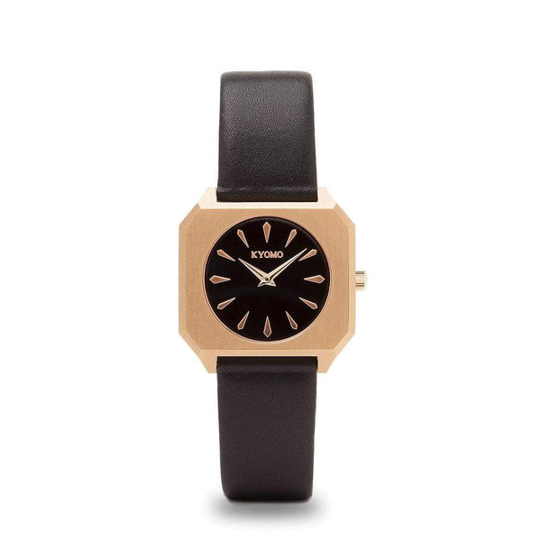 Watch 1H - Black/Gold with Leather