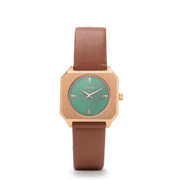 Watch 1J - Emerald/Gold with Brown Leather