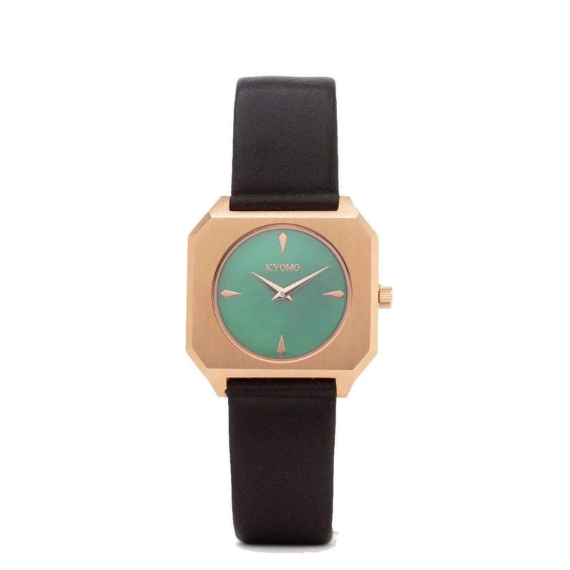 Watch 1X - Emerald/Gold with Black Leather
