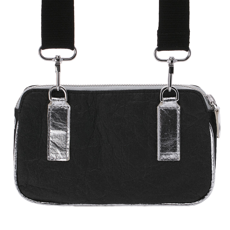 Urban Active, Convertible belt-bag, Vegan made from pineapple fibers, Black and Silver