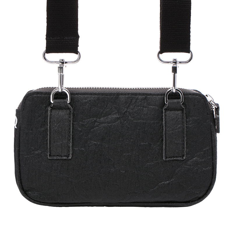 Urban Active - Eco-Luxe-Sporty convertible bag, 100% Vegan, made from pineapple fibers, Black