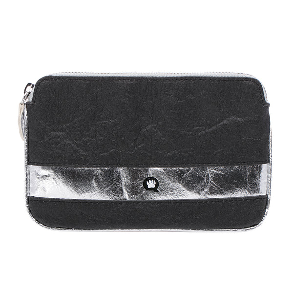 Urban Chic, Convertible slim belt bag, Vegan, Black and Silver