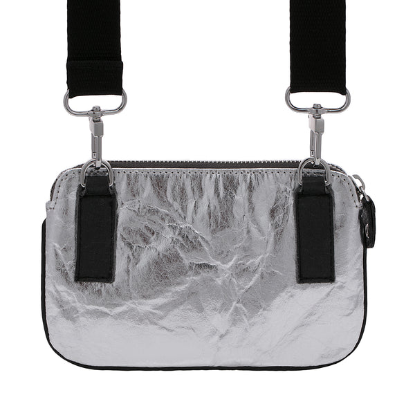 Urban Chic, Convertible slim belt bag, Vegan, Silver and Black