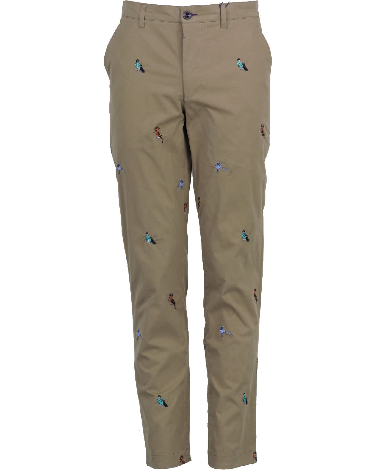 Charles Khaki Birds Embroidery