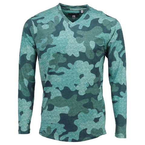 Haze Vneck Tee in Chevron Camo Teal