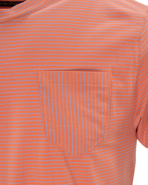 Tate Crew Coral and Blue Stripe