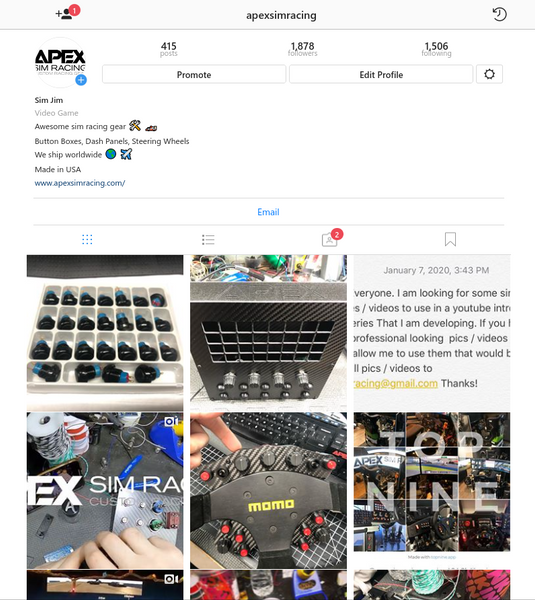 Follow us on instagram @apexsimracing
