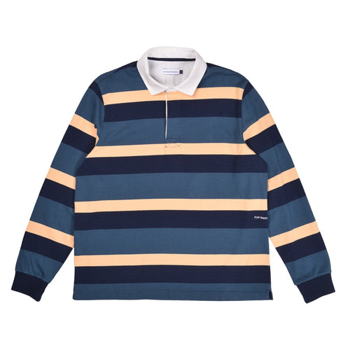 Pop Trading Co - Striped Rugby Shirt - Yellow / Green / Blue