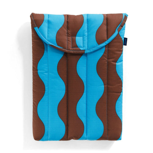 "Baggu - 13"" Puffy Laptop Sleeve - Teal & Brown Wavy Stripe"