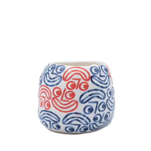 Rittle King - Small Planter - Blue & Red