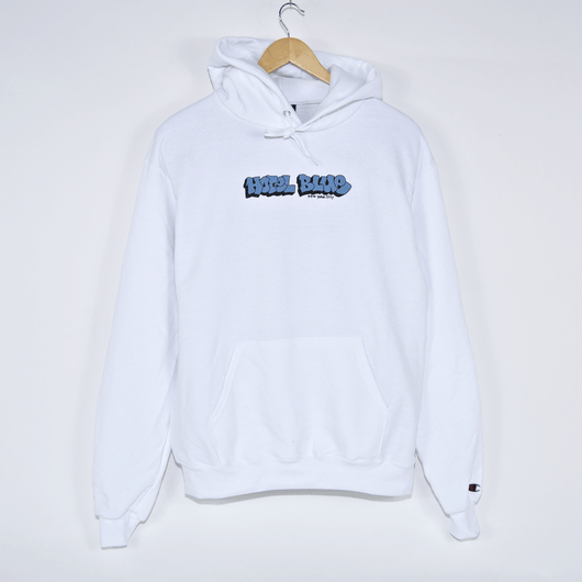 Hotel Blue White Graff Champion Pullover Hooded Sweatshirt