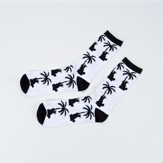 Paradise - Liberty Palm Crew Socks - White