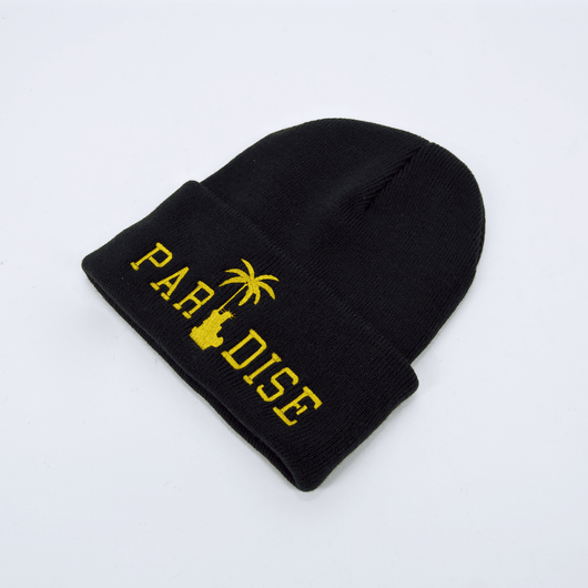 Paradise Liberty Palm Gold Skully Black Beanie