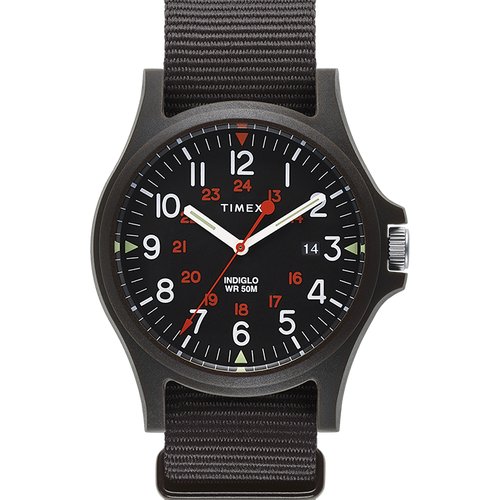 Timex Acadia 40mm Military Grosgrain Strap Watch - Black