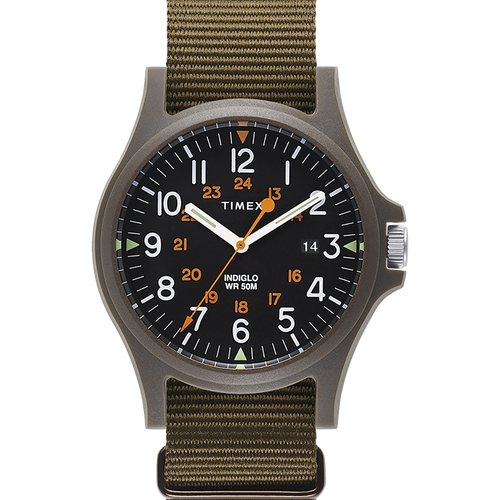 Timex Acadia 40mm Military Grosgrain Strap Watch - Green